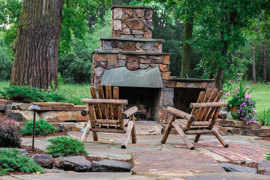 stone fire place and patio